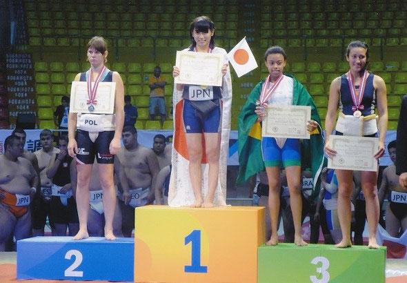 世界女子ジュニア相撲選手権大会で優勝した野崎舞夏星さん