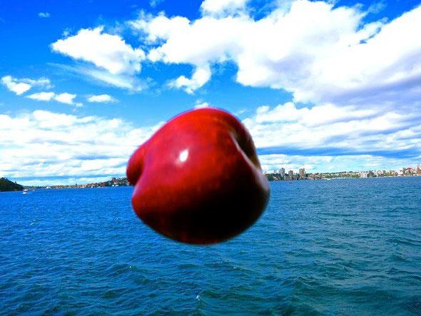 青空に舞い上がる真っ赤なりんご