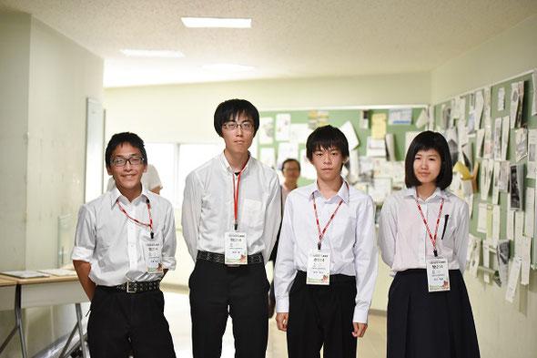 左から 中澤侑也くん(3年)、津田惇くん(3年)、田中亨汰くん(2年)、中川怜那さん(3年)