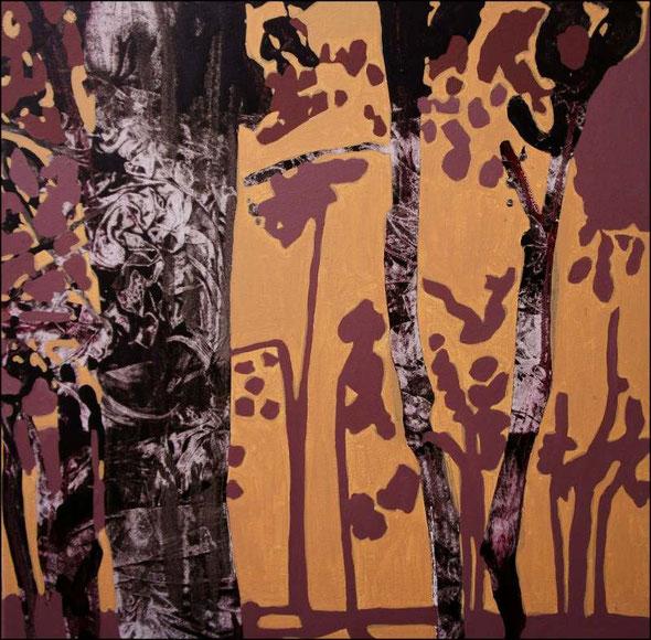 travail en cours, acrylique sur toile, 65 x 65 cm.