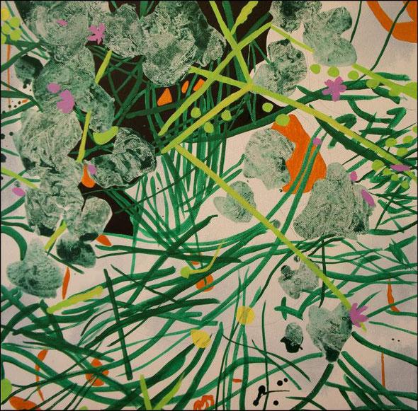 Jardin d'Eden II, travail en cours, acrylique sur toile, 65 x 65 cm