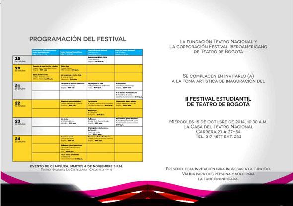 II Festival Estudiantil de Teatro de Bogotá 2014  progamación