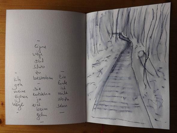Eigene Wege - Skizze im aktuellen Notiz-Skizzen-Tagebuch