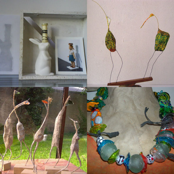 Collage von Objekten aus Sabines Werkstatt