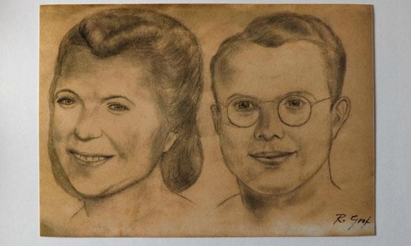 Meine Großeltern als junges Ehepaar. Zeichnung meines Großvaters Rudolf Graf