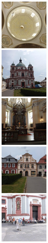 Die Basilika in Deutsch Gabel / Jablonné v Podještědí und der Marktplatz