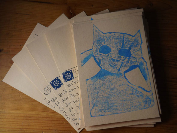 Brillengläser nachtönen, Karten zerschneiden, beschreiben. Ab geht die Post!!!