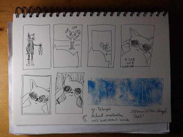 Weitere Skizzen auf der Suche nach einem schlichteren Motiv: die Mach-mal-Blau-Katze wird geboren.