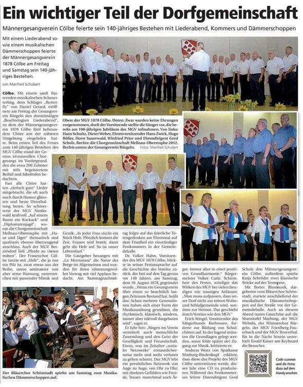 Bericht der Oberhessische Presse vom 14.08.2018