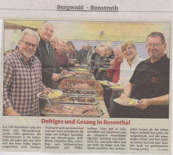 Zeitungsauschnitt traditionelles Schlachteessen Rosenthal 2017