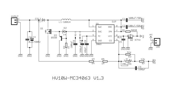 Circuit of the MC34063 HV PSU