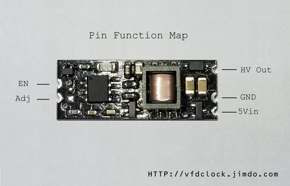 Pin function map for HV5W-E DC-DC module for NIXIE clock