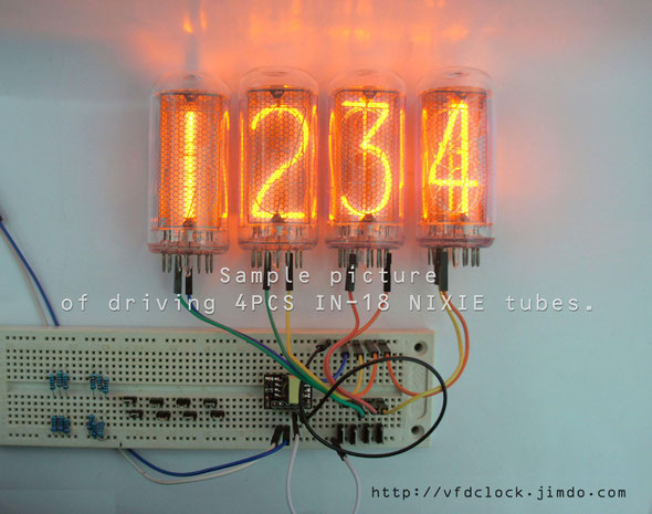Sample picture of driving 8PCS IN-14 NIXIE tubes