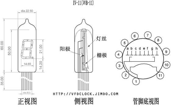 图:IV-11荧光数码管外观及电气连接