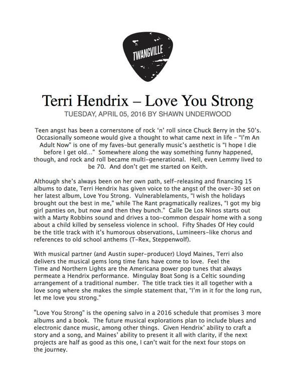 Welcome Terri Hendrix Human