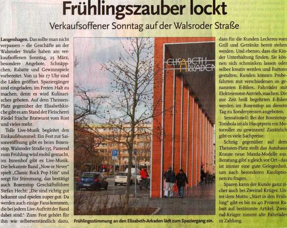 """Boxenstop""Langenhagen, Presse -  Ankündigung"