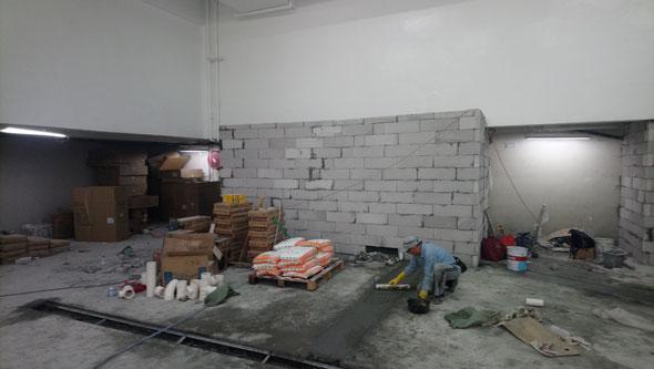 興建本地啤酒廠工程, 食品工場出牌 Brick layering in a local brewery for food factory licence application HK