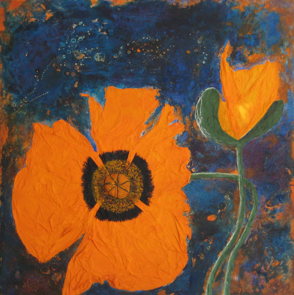 Mohn abstrakt 100 x 100 cm, Spachtelmasse/Marmormehl, Acrylfarbe, Tusche, Seidenpapier,  verkauft