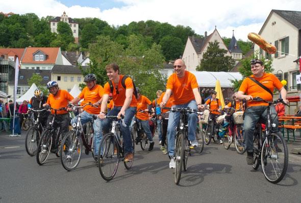 Diabetes-Aktion zu RheinRadeln 2012 auf dem Oppenheimer Postplatz