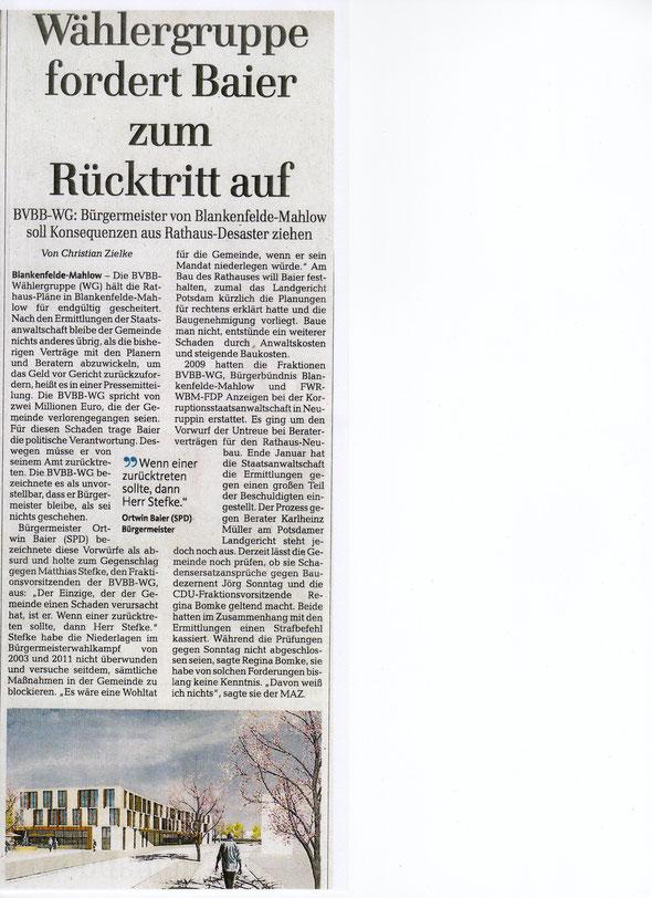 Artikel:MAZ/Zossener Rundschau Grafik: Architekt