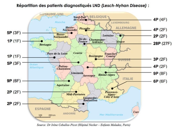 Repartition des malades Lesch-Nyhan en France (LND)