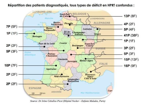 Repartition des malades Lesch-Nyhan en France (tous types)