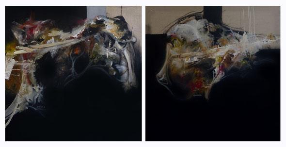 Tête à tête Acrylique sur toile Dyptique 100cmx200cm