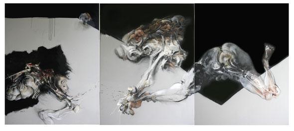 Triptyque. Acrylique/pastel sur toile.Dim:146cmx342cm