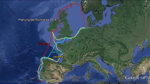 Planung der Rückreise im Früjahr 2014