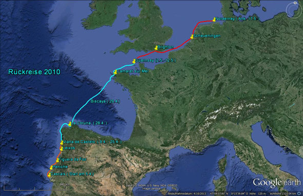 Die Rückreise 2010 mit Stopp auf den Kanalinseln