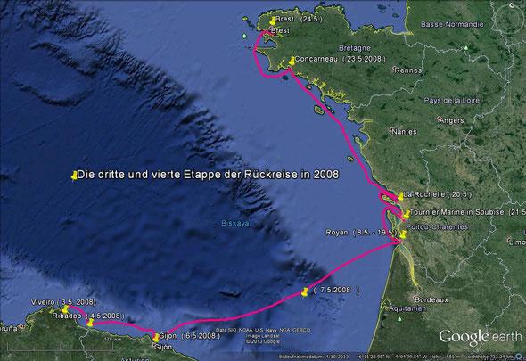 Die dritte und vierte Etappe der Rückreise in 2008