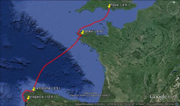 2. Etappe von Poole nach Vilagarcia vom 4.9.  bis  10.9.2007