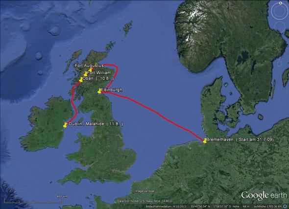 Von Bremerhaven durch den Caledonian Channel nach Dublin