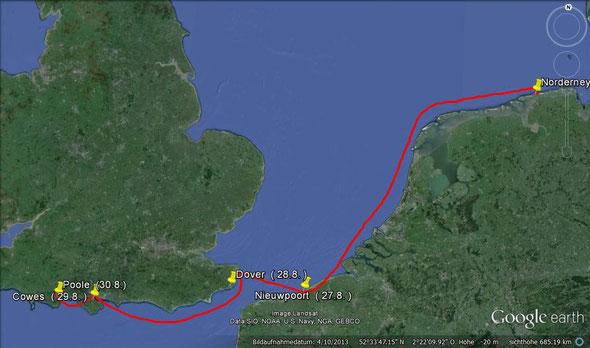 1. Etappe von Norderney nach Poole   ( 26.8.  -30.8  )