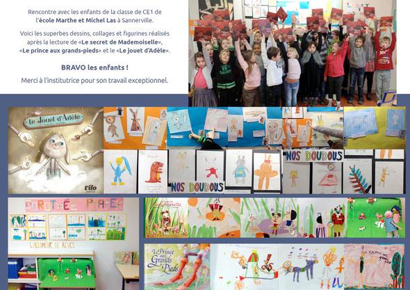 réalisation de dessins et personnages par la classe de CE1