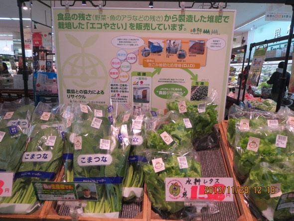 リーフウォーク稲沢店頭での「エコ野菜」販売コーナー