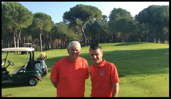 Guillaume avec Mr Jhon DALY sur le golf Atalaya en Turquie