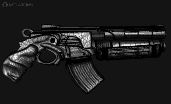 Высоко полигональная сетка нового оружия новой части игры Painkiller Hellgun
