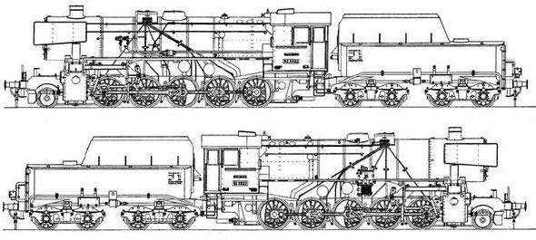 train br 52 draw, чертежи паровоза ТЭ 52