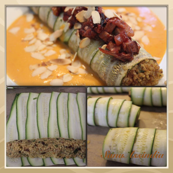 Zucchinirolle mit Paprikasoße und Pflaumentopping