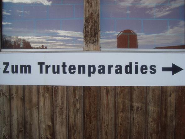Wegweiser zum Trutenstall - Türe steht für Besucher offen