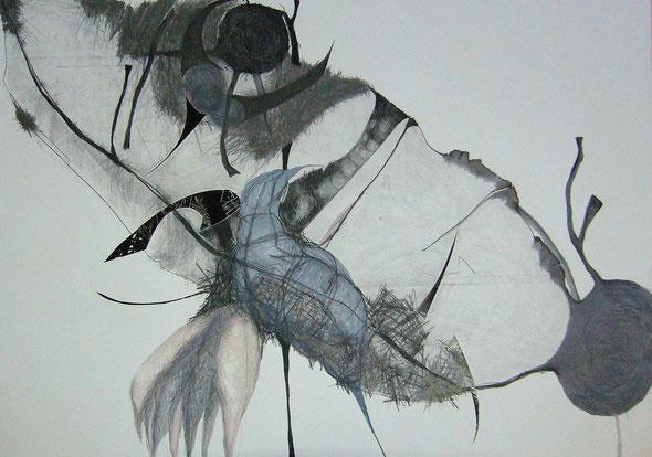 o.t.,zeichnung/collage, 100x70 cmm, 2013