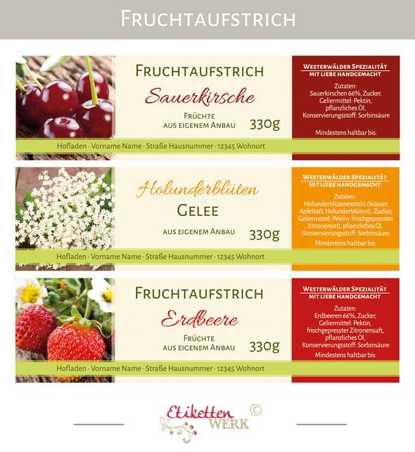 Fruchtaufstrichetiketten, Etiketten, Marmelade, Konfitüre, Fruchtaufstrich, Gelee, Aufkleber