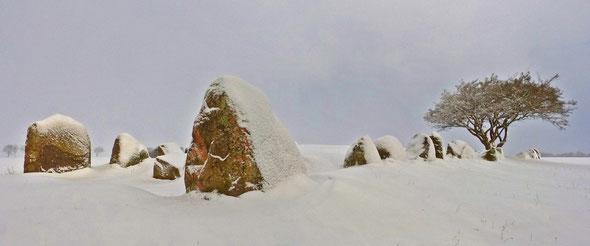 Das imposante Großsteingrab bei Nobbin mit zwei Grabkammern
