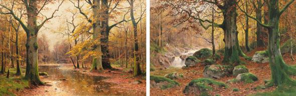 Abb. 4: Die Gemälde von Walter Moras (* 1856, † 1925) zeigen die reich gegliederten Habitate natürlicher Wälder in Mitteleuropa mit Felsen, Feuchtflächen, Fließgewässern, unterschiedlichen Baumarten in allen Altersklassen.