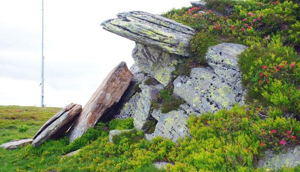 Felsformation (Plattengneis) im Handalm-Gebiet, links im Bild der Fuß einer der Windmessmasten (Foto: Josef Moser, Lizenz: CC BY-SA 3.0).