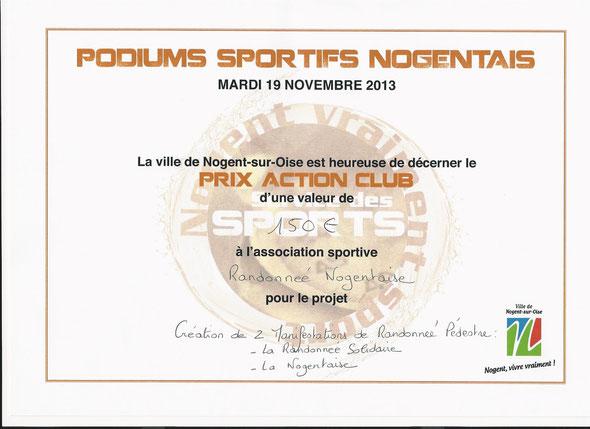 Podiums  Sportifs nogentais du  Mardi  19 novembre 2013