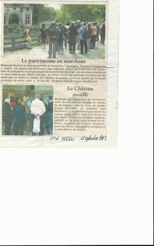 journal : l' OISE  HEBDO  du  18 septembre 2013  : Association Randonnée  nogentaise  lors de la journée du  Patrimoine