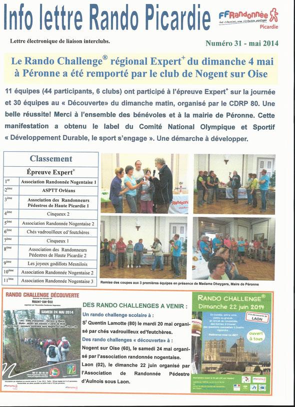 lettre   31  RANDO  PICARDIE   : résultat RANDO CHALLENGE 2014