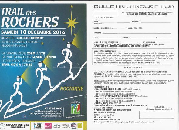 TRIALS DES ROCHERS  -   14.5 km  inscription avec le club  pour faire en MARCHE  PEDESTRE  ou  MARCHE  NORDIQUE  .